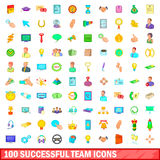 100 successful team icons set, cartoon style Stock Image