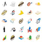 Successful team icons set, isometric style. Successful team icons set. Isometric set of 25 successful team vector icons for web isolated on white background Royalty Free Stock Images