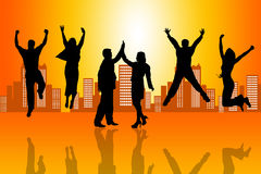 Successful team. Jumping and celebrating Royalty Free Stock Photo