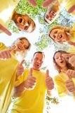 Successful team keeps their fingers crossed royalty free stock photo