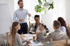 Successful team leader businessman boss presenting new project stock images