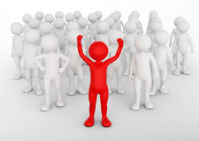 Successful team leader concept. Toon man with his army of people. 3D illustration Stock Image