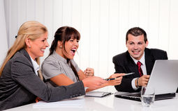 A successful team at a meeting in the office Stock Photo
