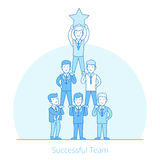 Successful Team men pyramid Flat line art business. Linear Flat businessmen standing with pyramid leader on top holding star vector illustration. Successful Royalty Free Stock Images