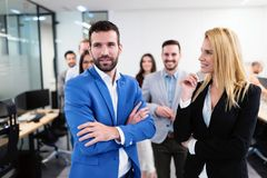 Successful team of young perspective businesspeople in office royalty free stock image
