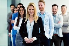 Successful team of young perspective businesspeople in office royalty free stock photo