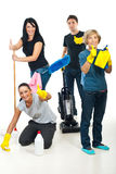 Successful teamwork of cleaning workers. Successful teamwork of cleaning services workers giving thumbs up royalty free stock images