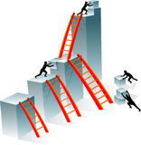 Successful Teamwork. Conceptual illustration of businessmen building together higher bar graph royalty free illustration