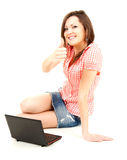 Successful teenage girl with laptop and thumb up Stock Photos