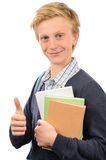 Successful teenage student thumb-up Stock Photo
