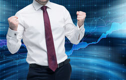 Successful trader gets a massive payoff. Portfolio management concept. Stock Images