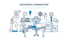 Successful transaction, concluded contracts, transactions, business strategy, planning, working methods. Royalty Free Stock Images