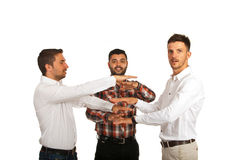 Successful united business men open hands Stock Photo