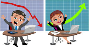 Successful and Unsuccessful Business Man and Woman stock photo