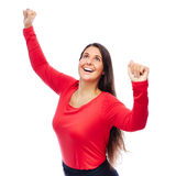 Successful Winner Business Woman. Celebrating Business woman In red with raised Arms Royalty Free Stock Image