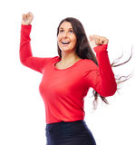 Successful Winner Business Woman. Celebrating Business woman In red with raised Arms Stock Images