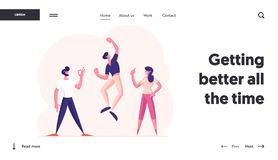Free Successful Winners Or Friends Team Celebrating Victory Website Landing Page. Happy People Gesturing Exclaiming Stock Images - 164205764