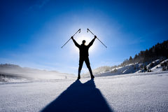 Successful winter hiking. Winter adventureiwinter hiking and happiness in nature.successful winter hiking stock image