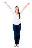 Successful woman with arms up Stock Image