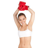 Successful  woman in boxing gloves Royalty Free Stock Photo