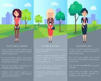 Successful Woman Business Lady Vector Illustration. S with three cute women in varied dresses, dark suit, red t-shirts and skirt, text sample, grey road Stock Photography