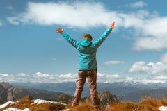 Successful woman Concept motivation, inspiration. Successful sport woman in mountains Concept of motion motivation inspiration royalty free stock image