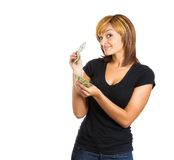 Successful woman counting money Stock Images