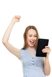 Successful woman with digital tablet Royalty Free Stock Photos