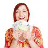 Successful woman with Euro money Royalty Free Stock Photography