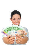 Successful woman giving money Stock Photos