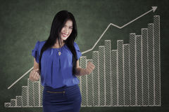 Successful woman and growth business chart Stock Photography