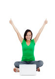 Successful woman holding arms up, success! Royalty Free Stock Photos