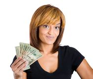 Successful woman holding money Stock Photo