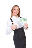 Successful woman holding the paper money Royalty Free Stock Photos