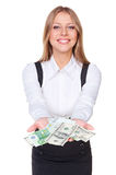 Successful woman holding paper money Stock Image