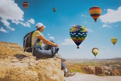 Successful woman and hot air balloon Concept motivation, inspiration