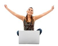 Successful woman with laptop Royalty Free Stock Image