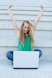 Successful woman with laptop Stock Photography