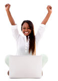 Successful woman with a laptop Royalty Free Stock Image