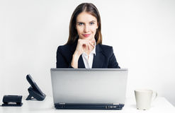 The successful woman with the laptop Royalty Free Stock Photos