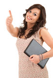 Successful woman with laptop and thumb up Stock Images