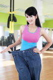 Successful woman lose her weight Stock Images