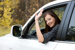 Successful woman in the new car Royalty Free Stock Image