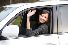 Successful woman in the new car Royalty Free Stock Photo