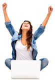 Successful woman online Royalty Free Stock Photography