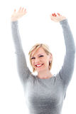 Successful woman raising arms in exultation Stock Image