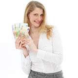 Successful woman showing winnings Royalty Free Stock Image