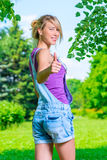 Successful woman shows gesture, that all is well Royalty Free Stock Photos
