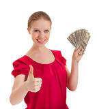 Successful woman shows thumb up with money Stock Photos