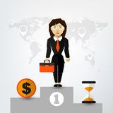 A Successful Woman in Suit on Pedestal Stock Images